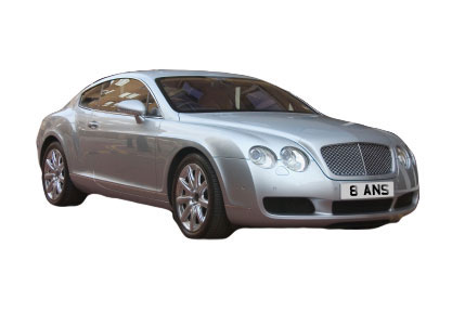 Private registration number on a bentley